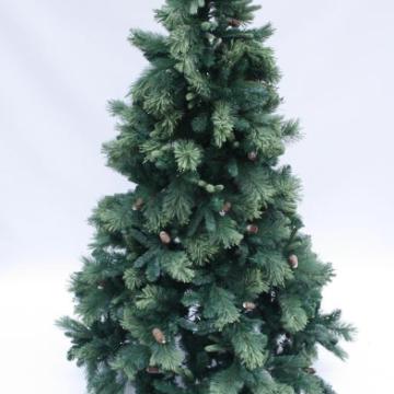 Christmas Pine Tree with Pine Cones 210 cm - White Fibre Optic Christmas Tree With Silver Lanterns (90 CM